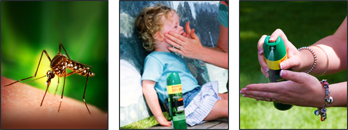Image of a mosquito, Repellent being put on a child's face, and repellent being sprayed onto a hand